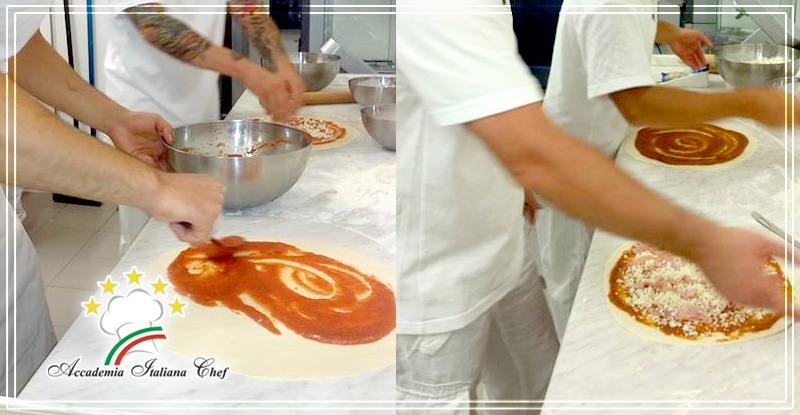 Corso di Pizzaiolo a Lecce : condire la pizza.